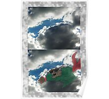 Crab Monster in Clouds Poster