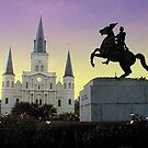 Purple &amp; Gold sky over Jackson Square by Anne Thigpen