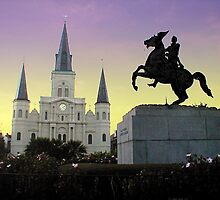 Purple & Gold sky over Jackson Square by Anne Guimond