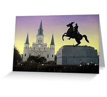 Purple & Gold sky over Jackson Square Greeting Card
