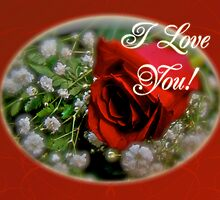 I love You Greeting Card - Red Rose and White Baby's Breath by MotherNature2