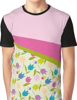 Decorative Tulips Pattern Graphic T-Shirt