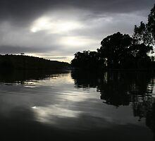 Moody river silhouette,Purnong,S.A. by elphonline