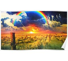 fence and the rainbow Poster
