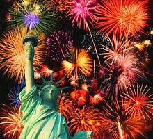 Fireworks by the Statue of Liberty by Adam Asar