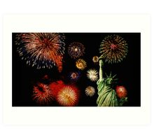 Fireworks by the Statue of Liberty 2 Art Print