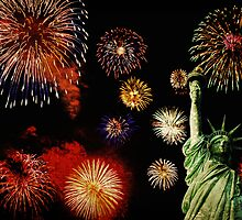 Fireworks by the Statue of Liberty 2 by Adam Asar