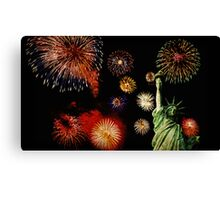Fireworks by the Statue of Liberty 2 Canvas Print