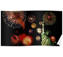 Fireworks by the Statue of Liberty 2 Poster