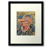 Van Gogh Laying in a Corn Field with Bullet Wound. Framed Print
