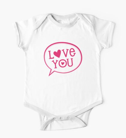 "LOVE BUBBLE modern typography heart ""love you"" One Piece - Short Sleeve"