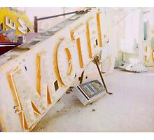 Polaroid of a Broken Neon Motel Sign Photographic Print