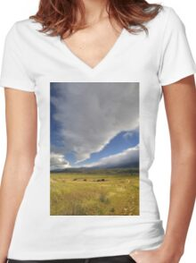 Clouds Over Cuyama Women's Fitted V-Neck T-Shirt