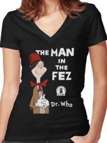 The Man In The Fez Women's Fitted V-Neck T-Shirt