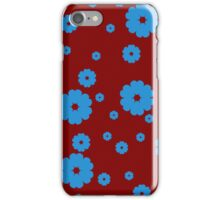Blue little flowers on red iPhone Case/Skin