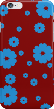 Blue little flowers on red by CatchyLittleArt
