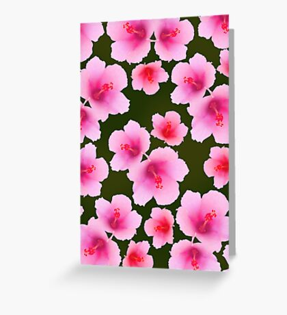 Pink rosemallow on deep green Greeting Card