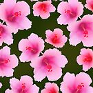 Pink rosemallow on deep green by CatchyLittleArt