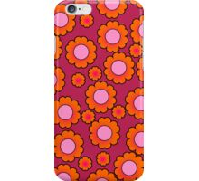 Orange daisies on magenta iPhone Case/Skin