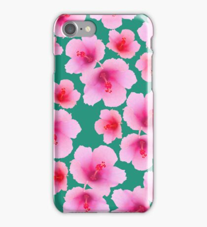 Pink hubiscus flowers on turquoise iPhone Case/Skin