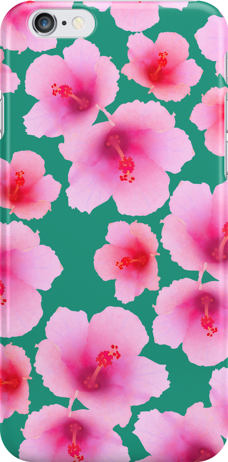 Pink hubiscus flowers on turquoise by CatchyLittleArt