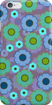 Green, blue and turquoise flowers by CatchyLittleArt