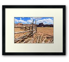 Old Corral With Mesas Framed Print