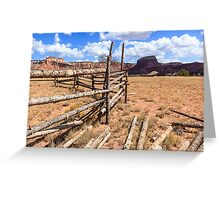 Old Corral With Mesas Greeting Card