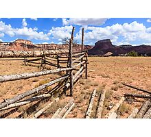 Old Corral With Mesas Photographic Print