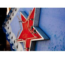 Star on a Vintage Neon Sign Photographic Print