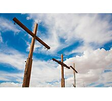 Crosses Stand in the Desert  Photographic Print