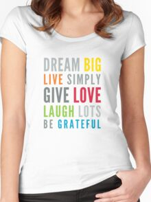 LIFE MANTRA positive cool typography bright colors Women's Fitted Scoop T-Shirt