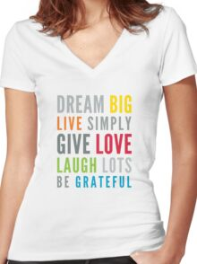 LIFE MANTRA positive cool typography bright colors Women's Fitted V-Neck T-Shirt