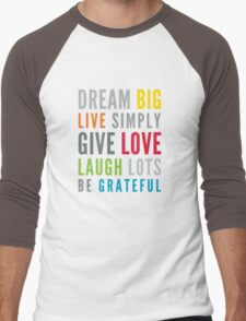 LIFE MANTRA positive cool typography bright colors Men's Baseball ¾ T-Shirt