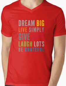 LIFE MANTRA positive cool typography bright colors Mens V-Neck T-Shirt