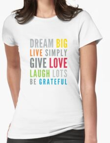 LIFE MANTRA positive cool typography bright colors Womens Fitted T-Shirt