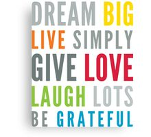 LIFE MANTRA positive cool typography bright colors Canvas Print