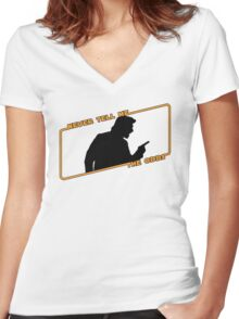 Never Tell Me The Odds! Women's Fitted V-Neck T-Shirt