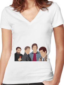 Supernatural - Sam, Dean, Castiel and Crowley Women's Fitted V-Neck T-Shirt