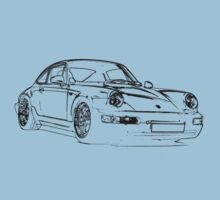 Porsche 964 RS Front black Kids Tee