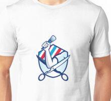 Barber Hand Holding Brush Scissors Shield Retro  Unisex T-Shirt