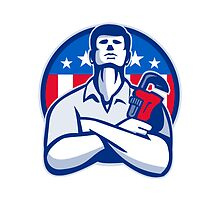 Plumber With Monkey Wrench American Flag retro  by retrovectors
