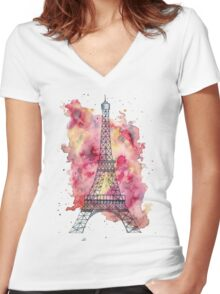 The Eiffel Tower Women's Fitted V-Neck T-Shirt