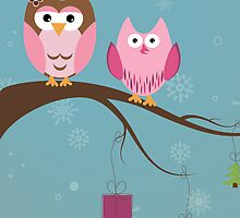 Two cute owls on the tree branch by Ana Marques