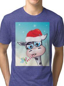 Critterz - cow Christmas spirit Tri-blend T-Shirt