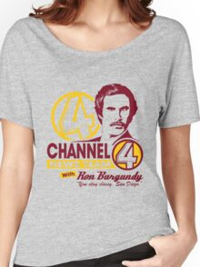 Channel 4 News Team with Ron Burgundy! No Halftone! Women's Relaxed Fit T-Shirt