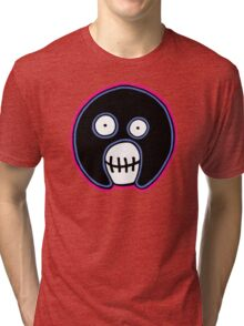 The Mighty Boosh –  Blue & Pink Mask Tri-blend T-Shirt