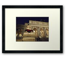 Classic Lion Sculpture, New York Public Library, New York City Framed Print