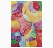 Bright Watercolor Circles One Piece - Short Sleeve