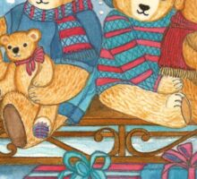 CHRISTMAS TEDDYBEARS ON SLED WITH GIFTS  Sticker